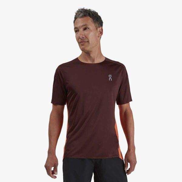 on men's performance running tee mulberry